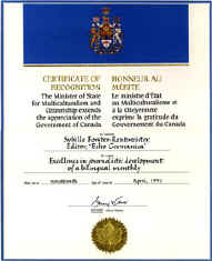 Award from the Minister of State for Multiculturalism and Citizenship, Canada